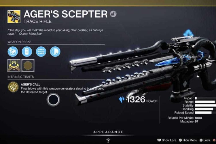 Destiny 2 Ager's Scepter Exotic Rifle