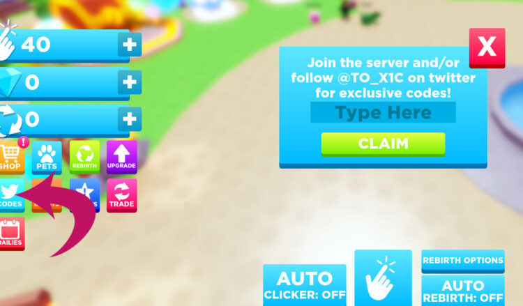 Redeeming codes in Roblox Clicking Havoc