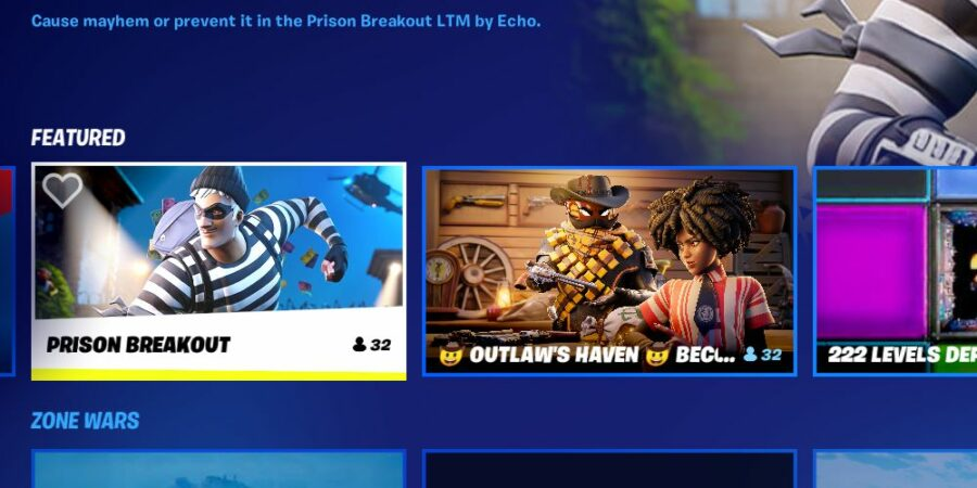 Выбор игрового режима Prison Breakout.