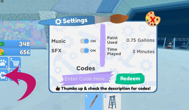 Redeeming codes in Roblox Paint Simulator